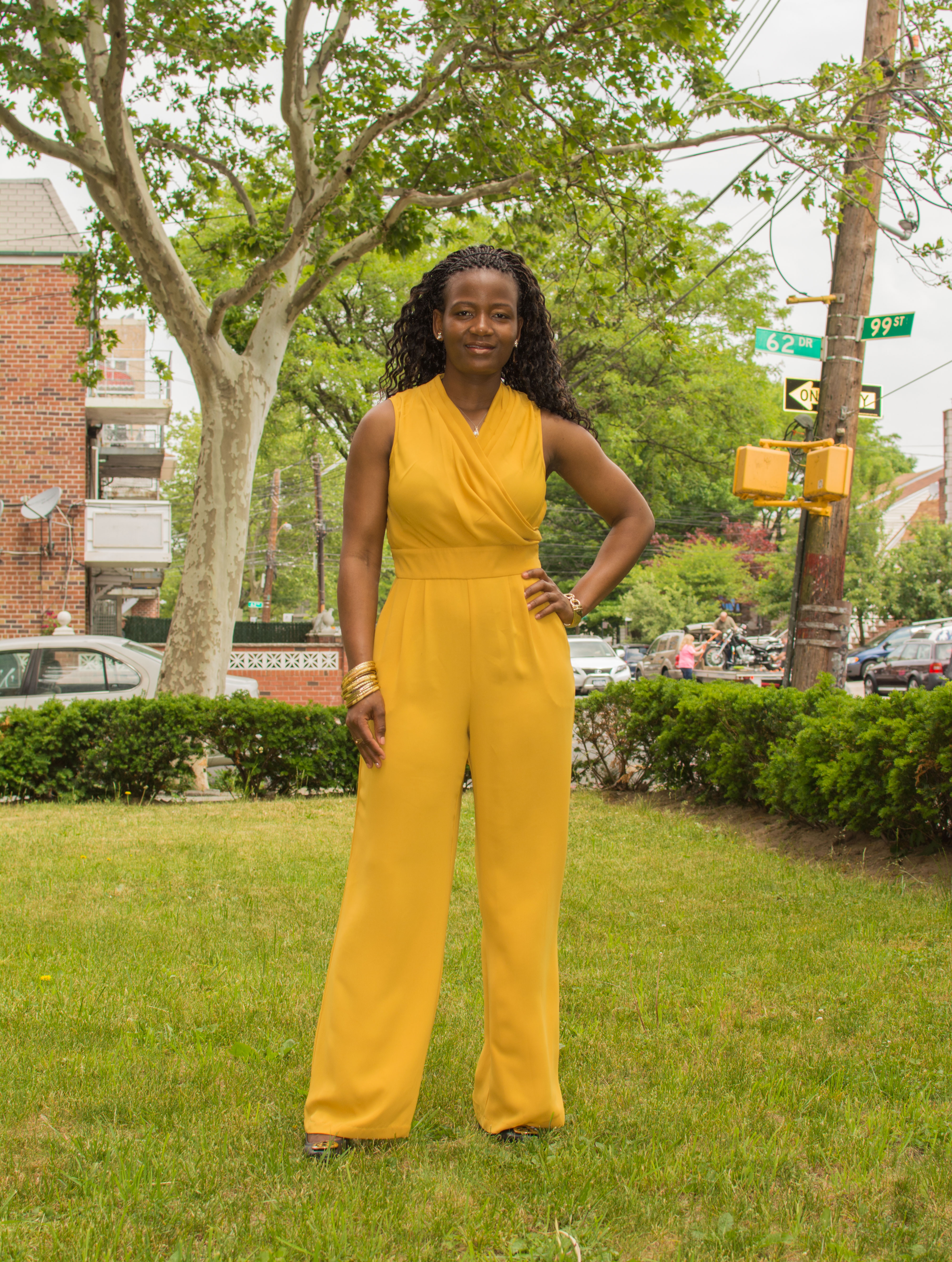 Mustard Jumpsuit Amp Sally Wedges Onstyleaction